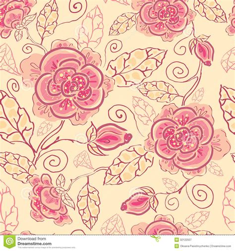 flower pattern line vector line art roses seamless pattern background royalty free