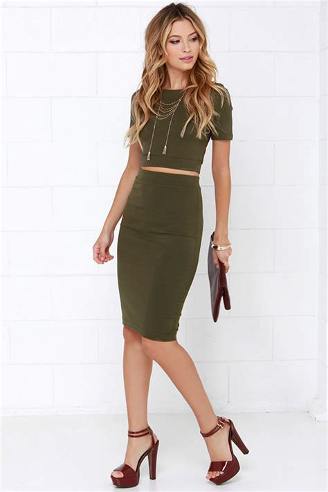Casual Shoes Mae Bordy Army olive green dress two dress bodycon dress