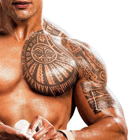 chest shoulder tattoo temporary maori the rock chest shoulder maori