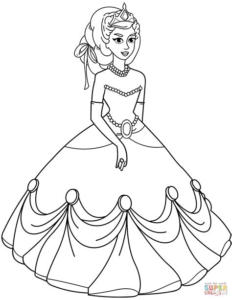 princess in gown dress coloring page free printable