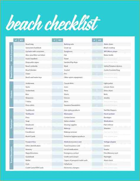 printable beach wedding checklist 10 beach checklist academic resume template