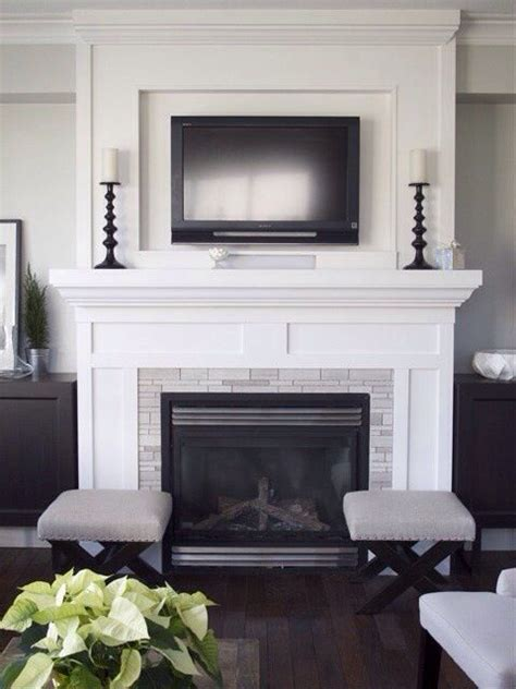 tv above fireplace shaker style surround could be done in white or stained