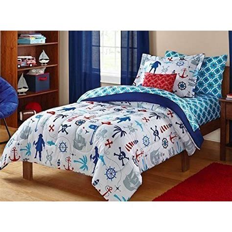 Pirate Bed Sets Pirate Bedding Keeco Nautical Skull Sea Themed Set White Blue 5 Bed In A