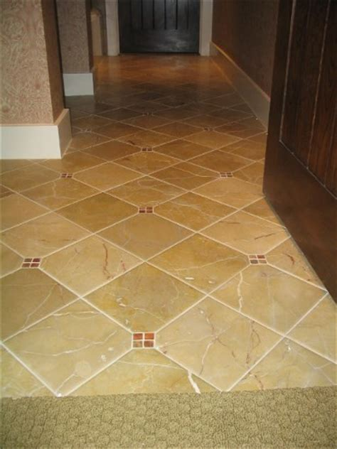 Diagonal layout of floor tile in kitchen   Ceramic Tile