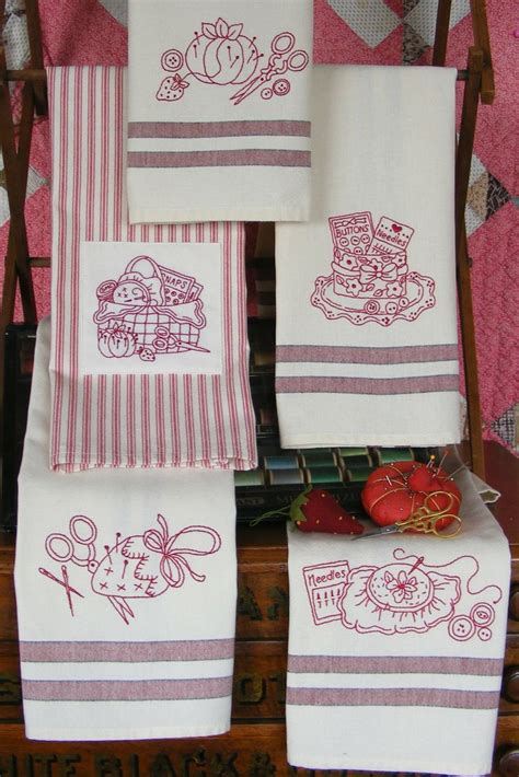 Kitchen Towel Embroidery Designs Redwork Kitchen Tea Towels Pattern Sewing Themed Designs Would Be Great On A Bag Or As Quilt