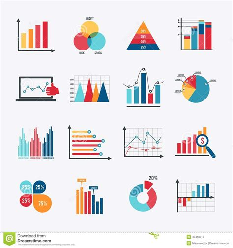 graph and diagram icon set stock vector illustration of business chart icons set flat stock vector image 47463319