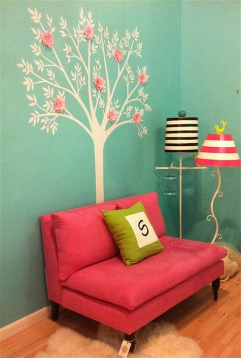 blue and pink girls bedroom reading nook in girl s bedroom in tiffany blue and hot pink