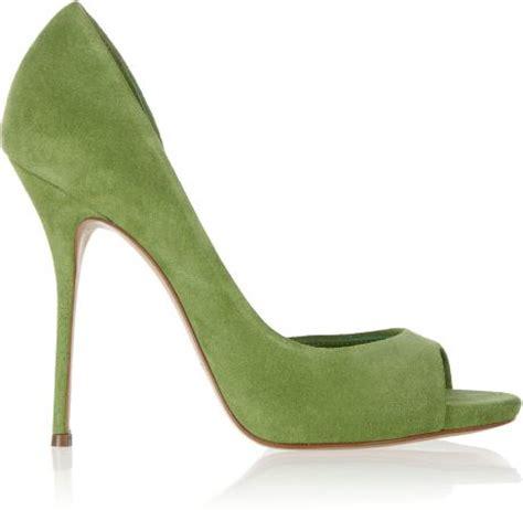 Nine Wests Jojus Apple Green Dorsay Peep Toes by Casadei Suede Peeptoe Pumps In Green Lyst