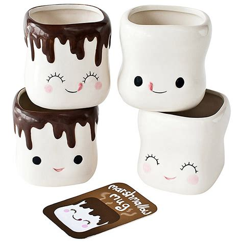 cute mugs marshmallow smiling faces hot cocoa mugs chocolate