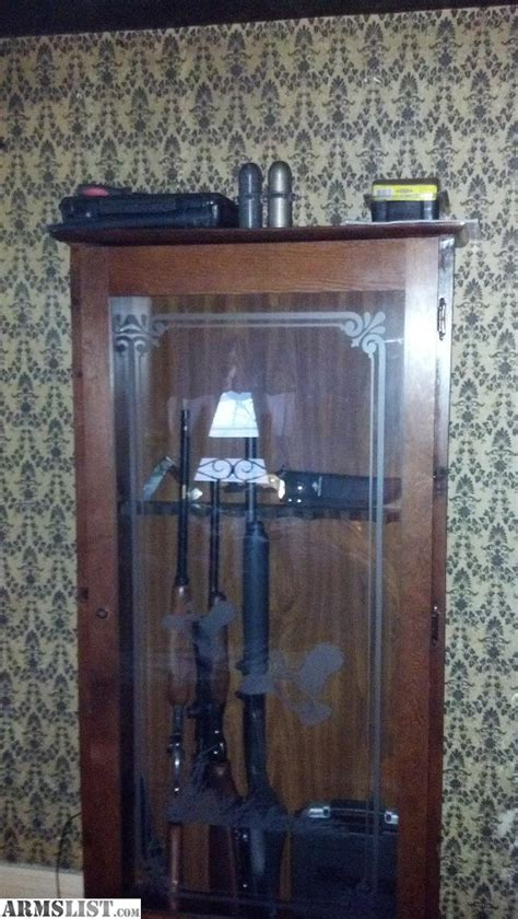 wood gun cabinet with etched glass armslist for sale trade solid wood gun cabinet