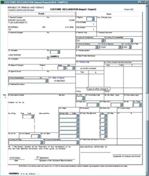 download canada customs invoice template