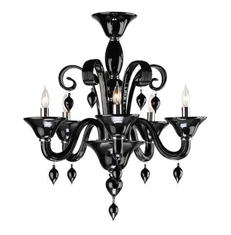 Contemporary Black Chandelier Treviso Contemporary Black 5 Light Murano Glass Chandelier Kathy Kuo Home