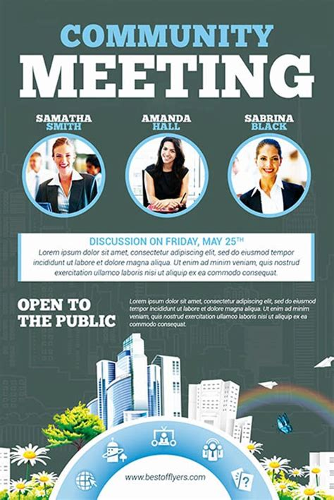 Community Meeting Free Flyer Template Download For Photoshop Community Flyer Template
