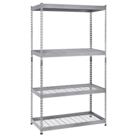 husky 4 shelf 36 in w x 72 in h x 18 in d silver steel