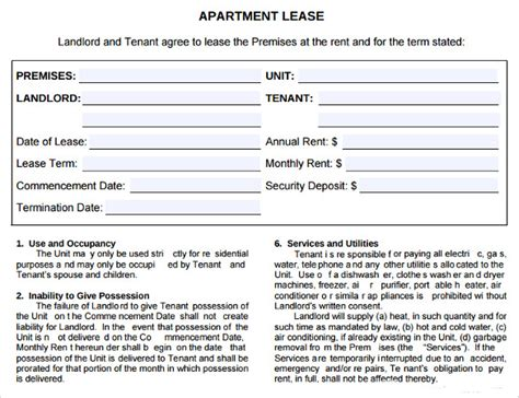 sample apartment lease agreements sample templates