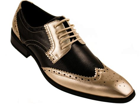 shoe and dress shoes amali mens two toned black and metallic gold dress shoe with wing tip 5846 035 ebay