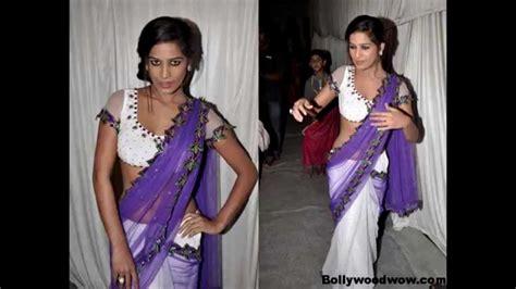 Lika Blouse poonam pandey without bra in transparent saree
