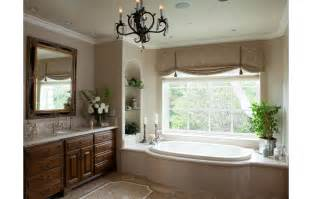 Ideas roman shade mosaic stone floor curved tub enclosure bathroom