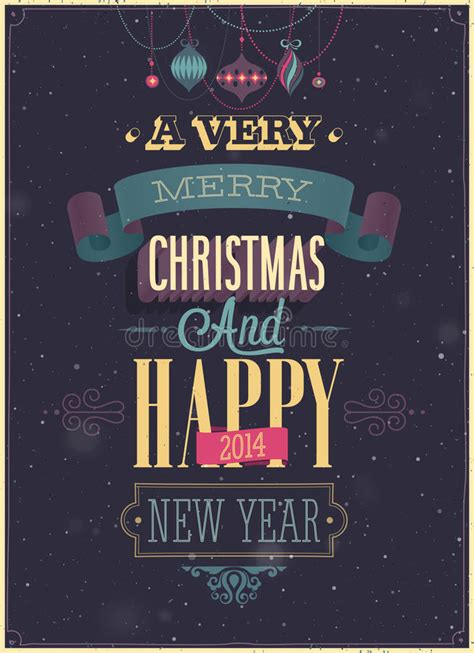vintage christmas poster stock vector illustration  decorative