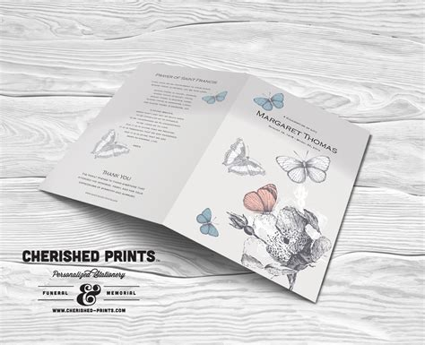 Butterfly Memorial Program Funeral Phlets cherished prints funeral and memorial stationery lovely