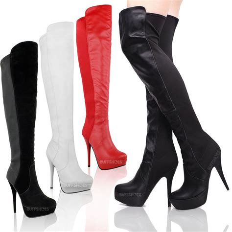 high heeled boots womens high heel stiletto the knee thigh high