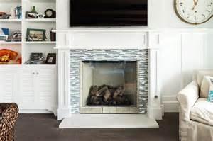 blue fireplace tiles transitional living room decor