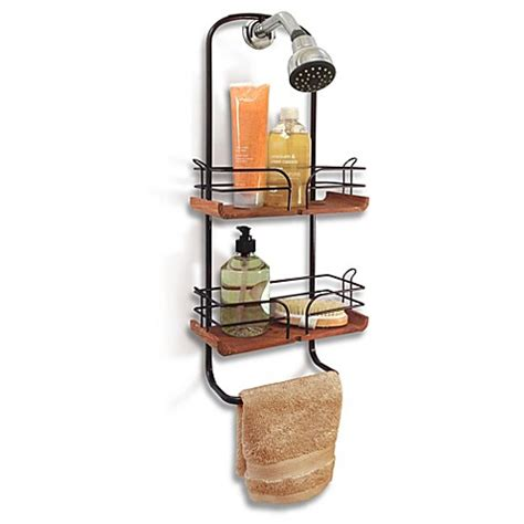 oil rubbed bronze bathtub caddy teak and oil rubbed bronze shower caddy bed bath beyond