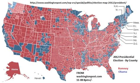 maps post 2012 elections president by county and state