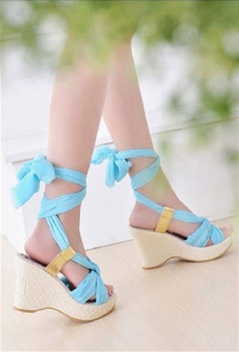 shoes wedges sandals baby blue heel tie string