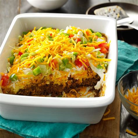 dish recipes for potluck potluck taco casserole recipe taste of home