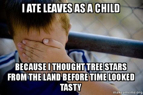 Confession Kid Meme - i ate leaves as a child because i thought tree stars from
