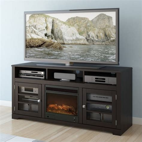 60 quot fireplace tv stand in mocha black f 602 bwt