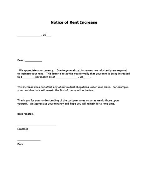 Letter For Increase In Rent From Landlord Rent Increase Letter Legalforms Org