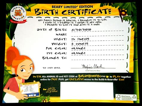 build a bear birth certificate pdf best and various