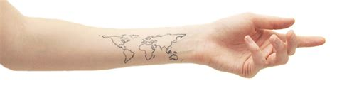world wrist tattoo world map on the wrist