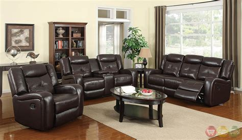 Dan Brown Bonded Leather Motion Living Room Set Rpcmo137 Brown Leather Living Room Set