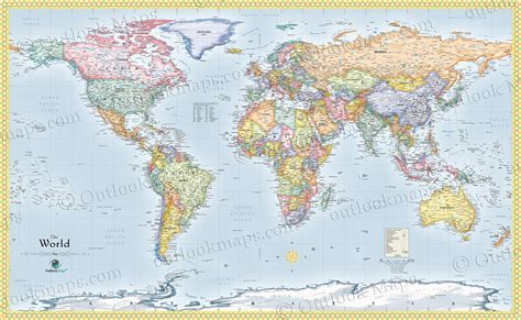 wall map world political wall map standard world map detailed
