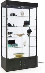 Mains Display Cabinet Lighting Black Display Tower W Led Lighting Store Cabinet W Storage