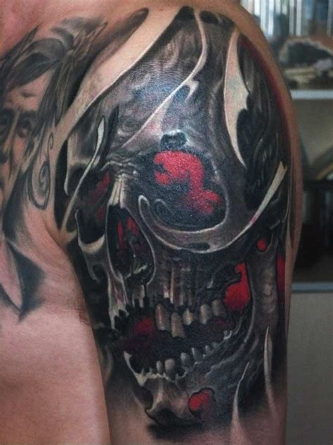 red skull tattoo horror tattoos play with your mind with your fears in