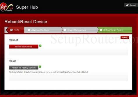 reboot virgin superhub 2 virgin media super hub 2 screenshots