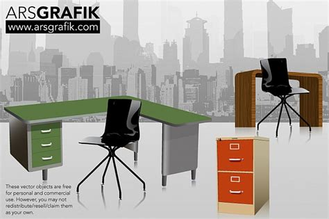 Free Office Desk Vector Office Furniture Vector Free