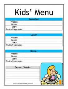 printable kid daily menu planner