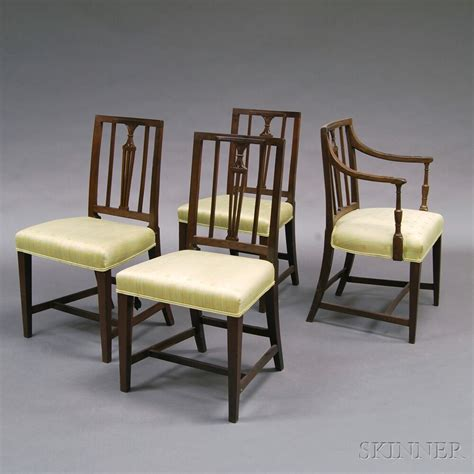 four george iii oak dining chairs and a black painted