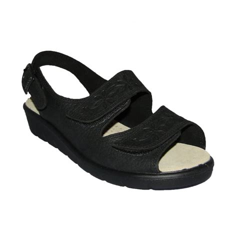 black sandals padders ladies nutmeg black sling back velcro sandal