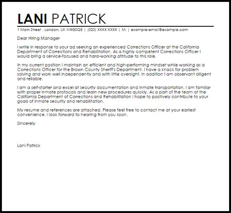 Correctional Officer Cover Letter Sample   LiveCareer