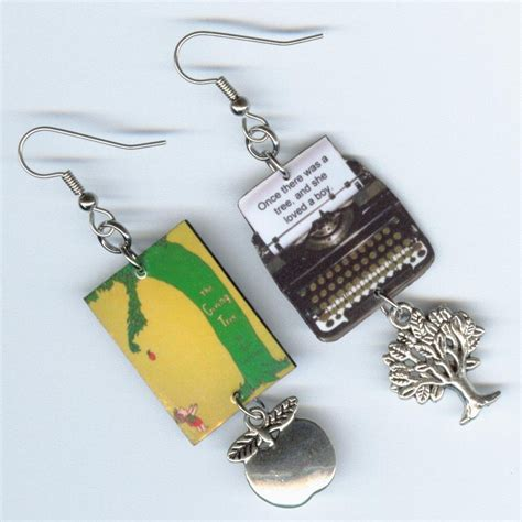 book earrings the giving tree literary quote