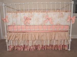vintage floral shabby chic rose pink and ivory baby girl crib