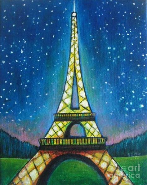 eiffel tower in starry painting by vesna antic