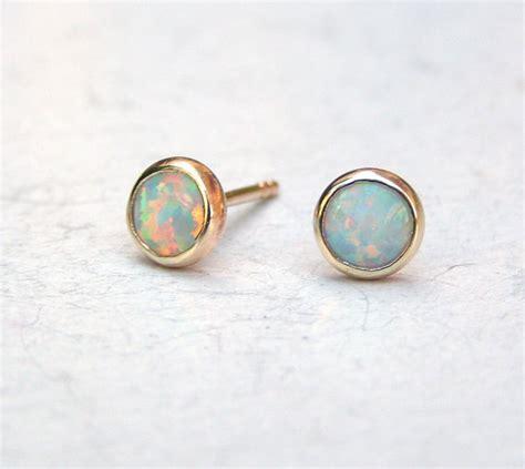 white opal earrings solid 14k gold earrings white opal earrings wife gift white