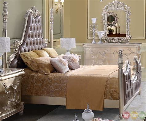 victorian style bedroom sets victorian inspired button tufted bedroom set in metallic
